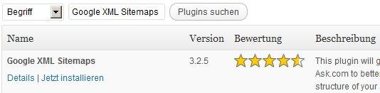 Google Sitemaps Plugin suchen