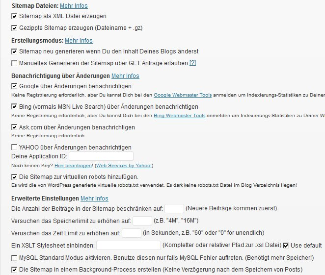 So sollte die Google XML Sitemap eingestellt sein