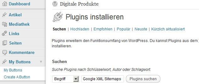 Google Sitemaps Suche