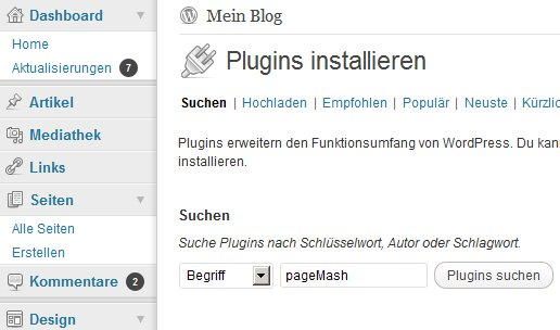 wp-Plugin pageMash